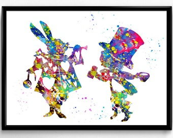 Alice in Wonderland Inspired, White Rabbit with Mad Hatter,  Tale, Poster, Kids Room Decor, gift, print wall art (595)