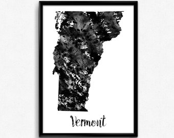 Map of Vermont, United States of America, Black and White Map, Travel, Watercolor, Room Decor, Poster, gift, Print, Wall Art (778)
