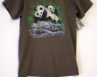 Panda Bears Whimsical Illustration Jungle Green T-shirt- Size Women's Medium (Cotton)