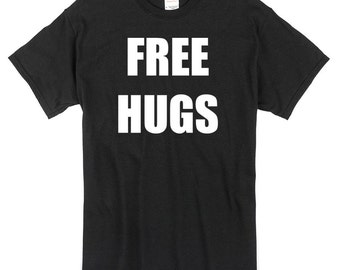Free Hugs T-Shirt black 100% cotton love inspired