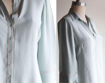 Vintage Silk Shirt Mint Green Size Small