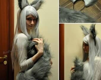 Wolf Ears and Tail. Handmade Original.