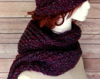 Hat and Scarf / Hat and Scarf Set / Knit Hat / Knit Scarf / Crochet Hat / Crochet Scarf / Acrylic Hat / Acrylic Scarf / Infinity Scarf