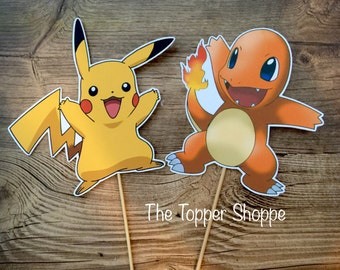 POKEMON Pikachu Charmander Centerpiece / Cake Topper / Die Cut / Photo Booth / Decoration / Party Supplies