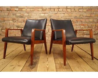 Pair Mid-century Danish Lounge Armchairs - 8/10 - Patina