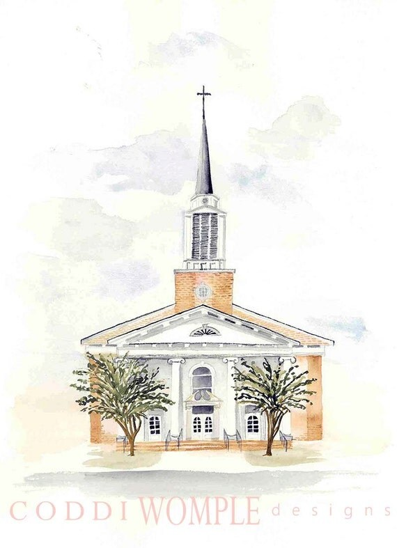 Custom Watercolor Church Painting