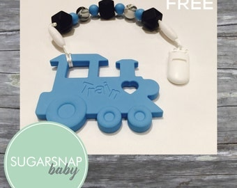 Silicone toddler baby teether - pacifier holder - baby teether - silicone teethers - baby chew toy - autism toy - train toy
