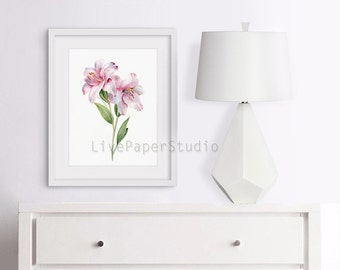 Watercolor Botanical Lily Lilies Flower Print, Light Pink Baby Girl Floral Nursery Room, flowers shabby chic decor, Pink Lilies painting
