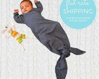 Organic Baby Boy Girl Black and White Knotted Sleeping Bag | Newborn Sleep Gown | Baby Sleep Sack| Homecoming Outfit | Organic baby clothes