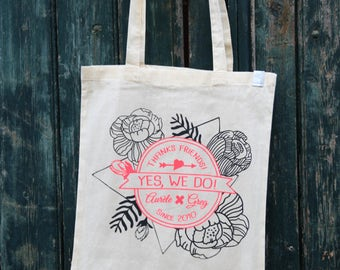 """Pack 10 Totebags Wedding customizable """"Totally Hipster"""" to offer your guests / where / family / memory - Handprinted in France"""