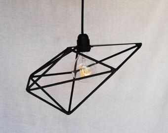 Geometric pendant, black metal, retro industrial style light bulb lamp
