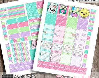 30%OFF - Kawaii, Mini Happy Planner Weekly Set, Mini HP Printable, Mini HP Stickers, Kawaii Stickers, Mini Happy Planner
