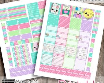 30%OFF - Kawaii, Mini Happy Planner Weekly Set, Mini HP Printable, Mini HP Stickers, Kawaii Stickers, Mini Happy Planner