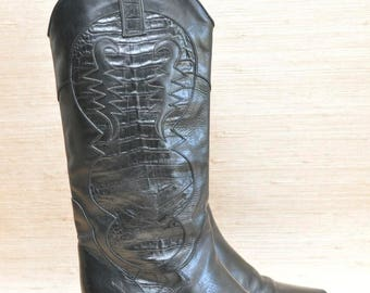 Vintage Black Leather Charles David Cowboy Boots with Alligator Country Western Women's Boots Size 8.5 Made In Italy
