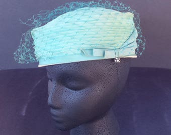 1950s Aqua Pillbox Hat with Netting and Bow Detail