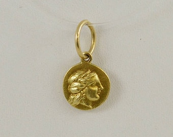 Vintage 22k Or Higher Yellow Gold Phoenicia/Greek BC OMP Ancient Coin Pendant
