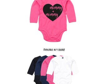 Mommy and mommy romper, baby romper, two moms, lesbian moms, same sex family, gay parents, LGBT parents, gay moms, lgbt romper, longsleeve