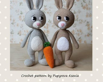 Bunny and carrot PATTERN - crochet animal pattern - amigurumi pattern - crochet bunny pattern