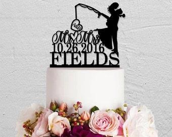 Fishing Cake Topper,Wedding Cake Topper,Initials Cake Topper,Mr And Mrs Cake Topper,Hook On Love Cake Topper,Last Name Cake  Topper