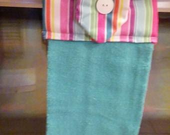 Hanging Hand towel, blue Towel, stripe Topper, Oven Door Towel, Sewn towel Topper, Kitchen Towel, handmade, home decor, summer