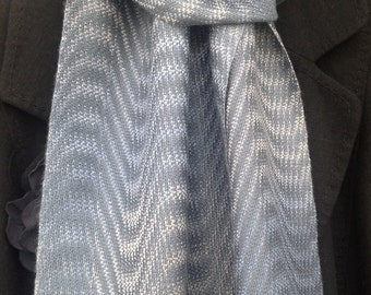 Hand woven Silk Scarf, handwoven silk scarf, blue silk scarf, hand dyed silk scarf, exclusive silk scarf, gift for her or him, ready to ship