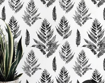 Paint prints of fern wallpaper || Black and white wall mural || Floral wall sticker || Reusable, Removable #107
