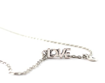LOVE charm necklace, silver tone love necklace, initial necklace, charm necklace, initial jewelry, personalized jewelry, gift for her