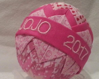 Pink Personalized Easter Egg-Quilted Ornament
