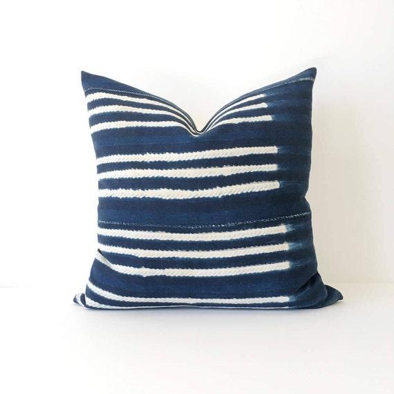 20 x 20 Dark Indigo Shibori Stripe Pillow Cover
