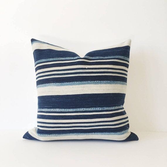16 x 16 Ivory and Navy Striped Pillow Cover