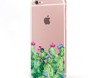iPhone - Samsung Galaxy - TPU Soft Rubber Cell Phone Case - Beaituful Cactus Flowers - High quality Soft Silicon-Designed and Printed in USA