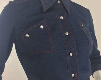 Vintage Mark VII Ltd. Inc Blue Jacket with Red Stitching/Size 8-Medium