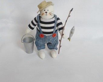 Art doll Cat Fisherman cloth toys collection toys