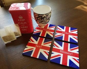 British Union Jack wooden coasters with UK phrases, Ace, Crikey, Brilliant & Blimey