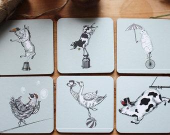 CIRCUS FARM Square Coasters – Set of 6 (Blue Grey)