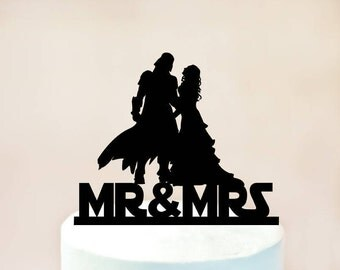 Wedding Cake Topper,Darth Vader and Bride Cake Topper,Darth Vader Wedding Cake Topper,Star Wars Wedding Cake Topper (1103)