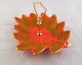Vintage California USA Pottery Leaf Shaped Serving Dish Orange Green Gold Mid Century