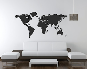World Map Wall Art Decal/Wall Sticker - With 20 Pin Points - For Office & Home Decor