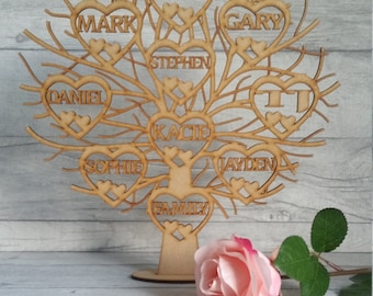 Wooden family tree, Free standing family tree, freestanding family tree, family tree