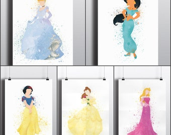 Disney Princess Poster Print Set   Set of 5   Watercolour Painting   Watercolour Art   Digital Download   Disney   Watercolour   Minimalist