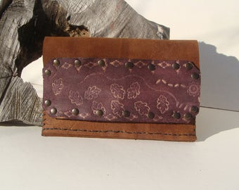 Tobacco pouch, craft in brown leather brown