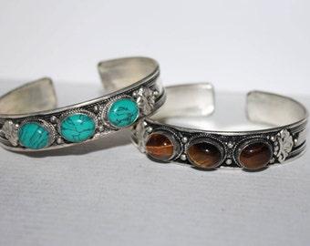 Turquoise bracelet, Tiger eye earrings, Silver bracelet, Boho bracelet, Tribal bracelet, Gypsy bracelet, Navajo bracelet, Tibetan bracelet