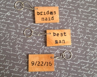 Wedding Party Keychains Custom Wood Keychain Personalized Gift Bride and Groom Wedding Gift