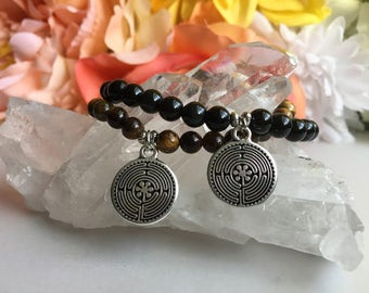 Tiger's Eye OR Gold Obsidian Zen Circle Beaded Meditation Bracelet