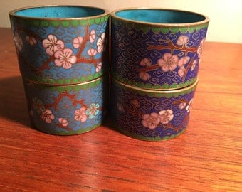 Set of 4 Chinese Cloisonné Napkin Rings - Early 20th Century