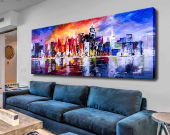 Acrylic Painting, Canvas Abstract City, Large abstract art, Colorful painting, City paintings, Landscape Painting On Canvas, City painting