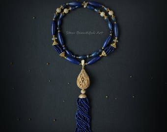 Lapis Lazuli and Rock Crystal Gemstone Necklace Cubic Zirconia Components Blue and Gold Jewelry Beaded necklace