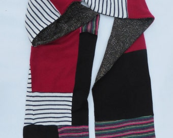 multi-colored recycled sweater scarf
