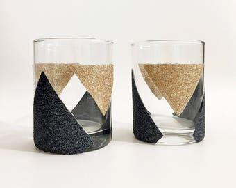 Whiskey Glasses - Whiskey Tumbler Set - Scotch Glasses - Gift for Men - Fathers Day Gift - Groomsmen Rock Glass - Glitter Glasses -Drinkware