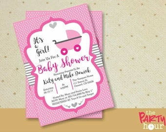 Personalized Baby Shower Invitation girl - It's a Girl Baby Shower Invitation - Printable Baby Shower Invitation Girl. Stroller Baby Shower